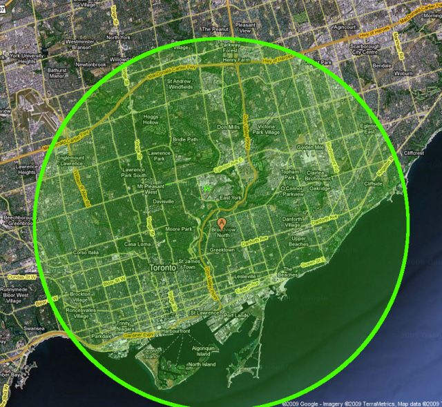 8km radius from the centre of Ward 29
