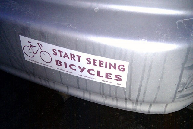Start seeing bicycles bumper sticker